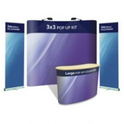 Advantage 3x3 + Large Pop-up Counter + 2 x Zeta Banner Stands - Display Kit